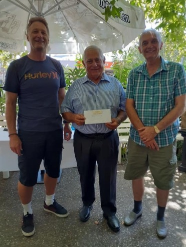 Fellow of Osborne Park RSL Sub branch, Tony Vallelonga, with Richard Troughton (President) and Mike Nel (Secretary) at Casa Bianchi, Mt Hawthorn.